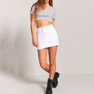 Forever 21 White Denim Mini Skirt